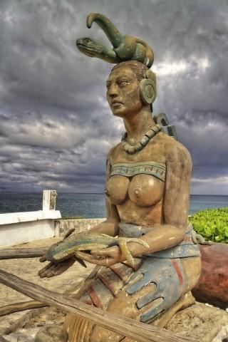 Statue at Tulum, Mexico
